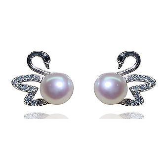 S925 Silver Gosling Animal Earrings Pearl Earrings