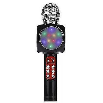 Ammattimainen langaton bluetooth-mikrofoni kädessä pidettävä kaiutinkaraoke-musiikkisoitin (musta)