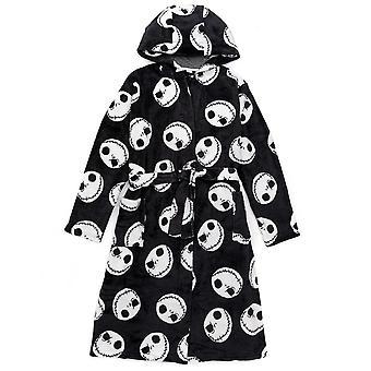 Disney The Nightmare Before Christmas Dressing Gown For Men | Adults Jack Skellington Pocket Black Bathrobe | Tim Burton Movie Pjs Robe