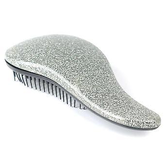 (Silver) Glitter Hair Brush Anti-static Multicolor Hair Comb Professional Hair Stylish