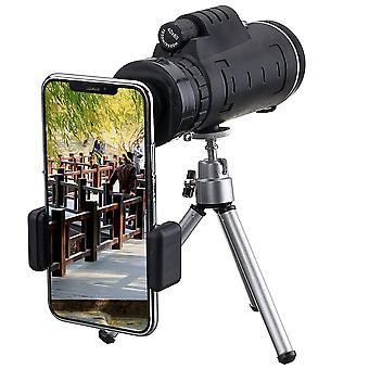 40X60 monokularowy optyczny teleskop obiektywu HD + statyw + klips do telefonu komórkowego ręczny noktowizor monocular do polowania na kemping