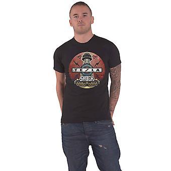 Tesla T Shirt Shock Band Logo new Official Mens Black