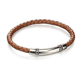 Fred Bennett Mens 925 Sterling Silver Tan Brun Vävt Läder & Kedja Detalj armband av längd 22cm