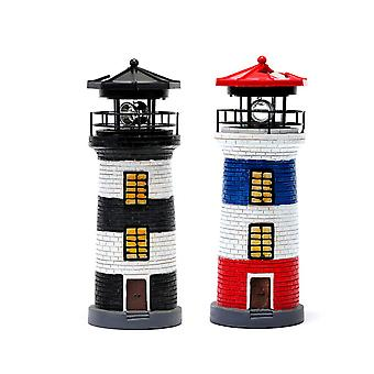 LED Lighthouse Solar Light Tower Jardin Rotating Beacon Tower Lampe