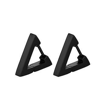 (Triangle-Black)  Women Men Stainless Steel Triangle/Square/Hexagon Geometric Piercing Stud Earring