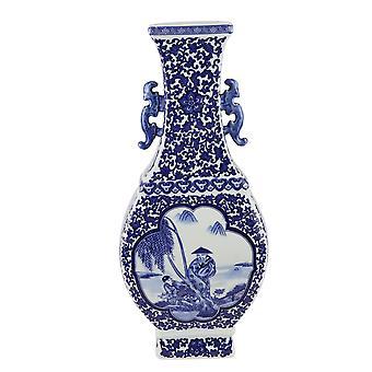 Fin AsiatiskLiving Kinesisk Vase Blå Hvit Porselen Landskap D15xH45cm