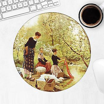 Gift Mousepad: Ladies Washing Clothes River Famous