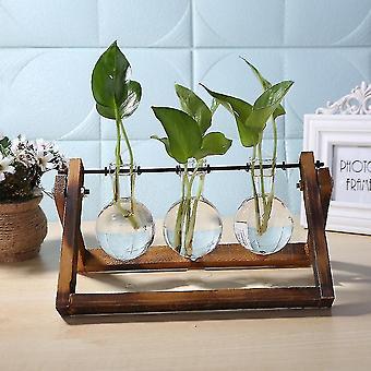 Vases nordic style eco friendly glass and wood vase planter terrarium c