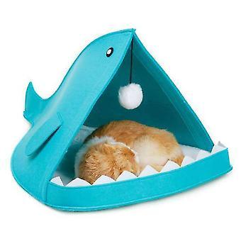 Cat Nest Filt Pet Nest Foldbar Shark Formet (Grå)