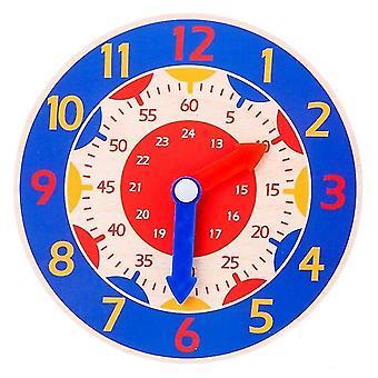 Lasten montessori puinen kello opettaa apua leluja (sininen)