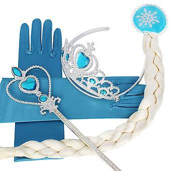 Halloween Girl Snow Queen Princess Crown Hair Piece Wand Gloves Cosplay