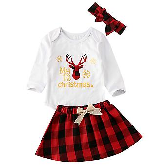 Christmas Baby Girls Outfit Xmas Clothes Romper Top Skirt Headband Set