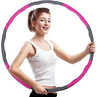 قابل للفصل هولا هوب المرجح للبالغين مع دليل التعليمات لممارسة الرياضة، واللياقة البدنية، والمرح، ودائم، وحجم قابل للتعديل مع 8 أقسام، الوردي والرمادي