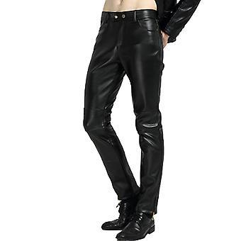 Silktaa Hommes Couleur UnIe Couture Fermeture à Glissière Design Pu Faux Cuir Pantalon