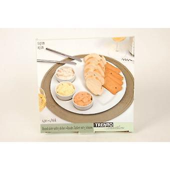 Pyöreä tarjoiluvadille 3 ruokia valkoinen välipaloja astiaston