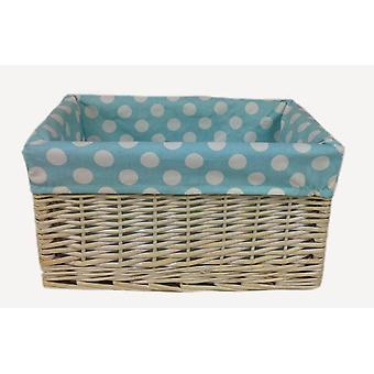 Blue Spotty Lined Wicker Open Storage Basket Small