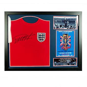 England FA Sir Geoff Hurst signert skjorte (ramme)