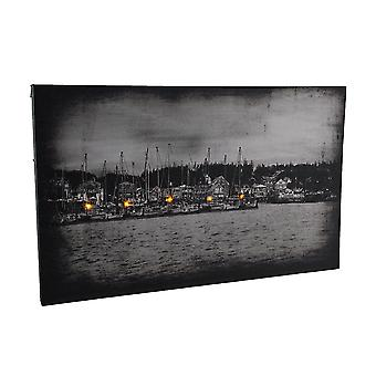 Harbor at Night Black and White LED Lighted Canvas Print