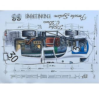 Sebastien Sauvadet Diagram Of A 66 Porsche 906 Lh-153 Print By Sebastien Sauvadet