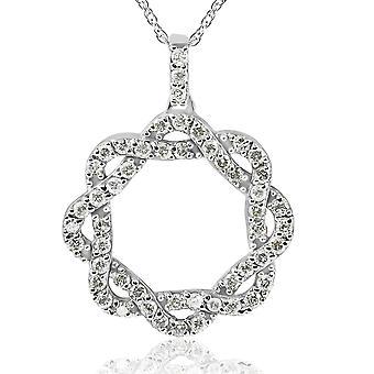 ct 1 Vintage diamante infinito entrelazados círculo colgante 14K oro blanco (I-J, I2-I3)