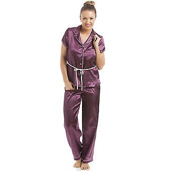 カミーユ紫半袖ベルト サテン パジャマ セット