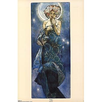 Moon Poster Poster Print by Alphonse Mucha