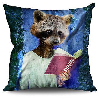 Racoon Book Thief Animal Linen Cushion 30cm x 30cm | Wellcoda