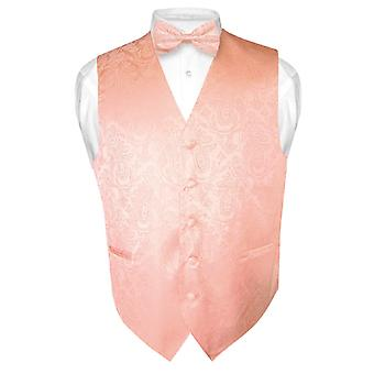 Men's Paisley Design Dress Vest & Bow Tie BOWTie Set for Suit Tux