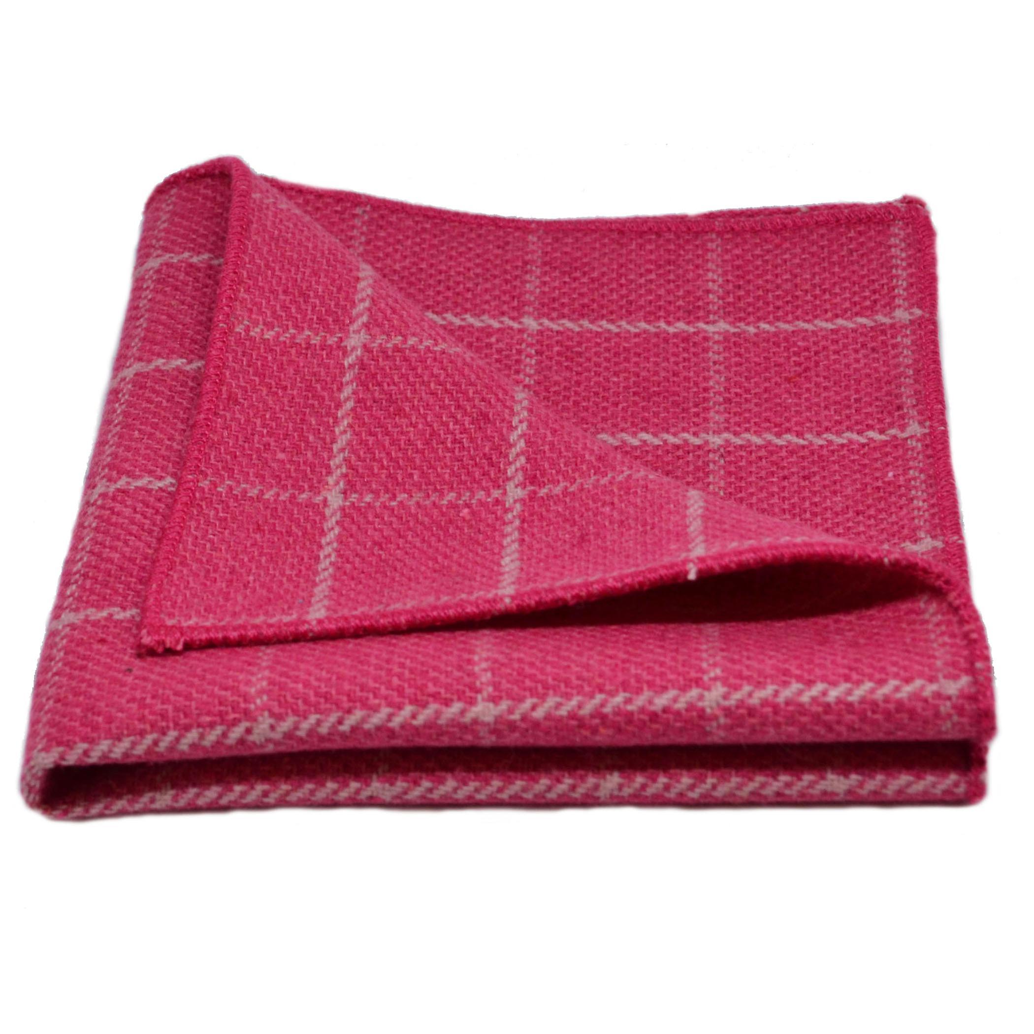 Fuchsia Pink Birdseye Check Pocket Square, Handkerchief