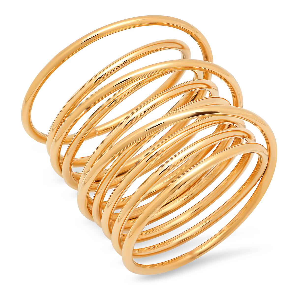 Ladies 18K Gold Plated Stainless Steel Swirl Wrap Ring