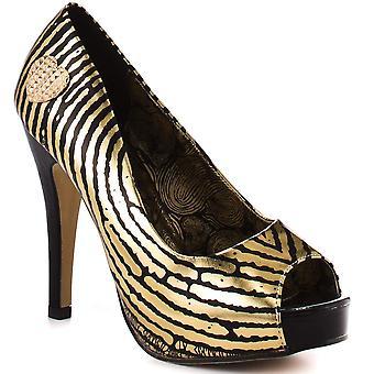 Women's Iron Fist Hands Off Platform Heel Peep Toe Shoes -  Gold