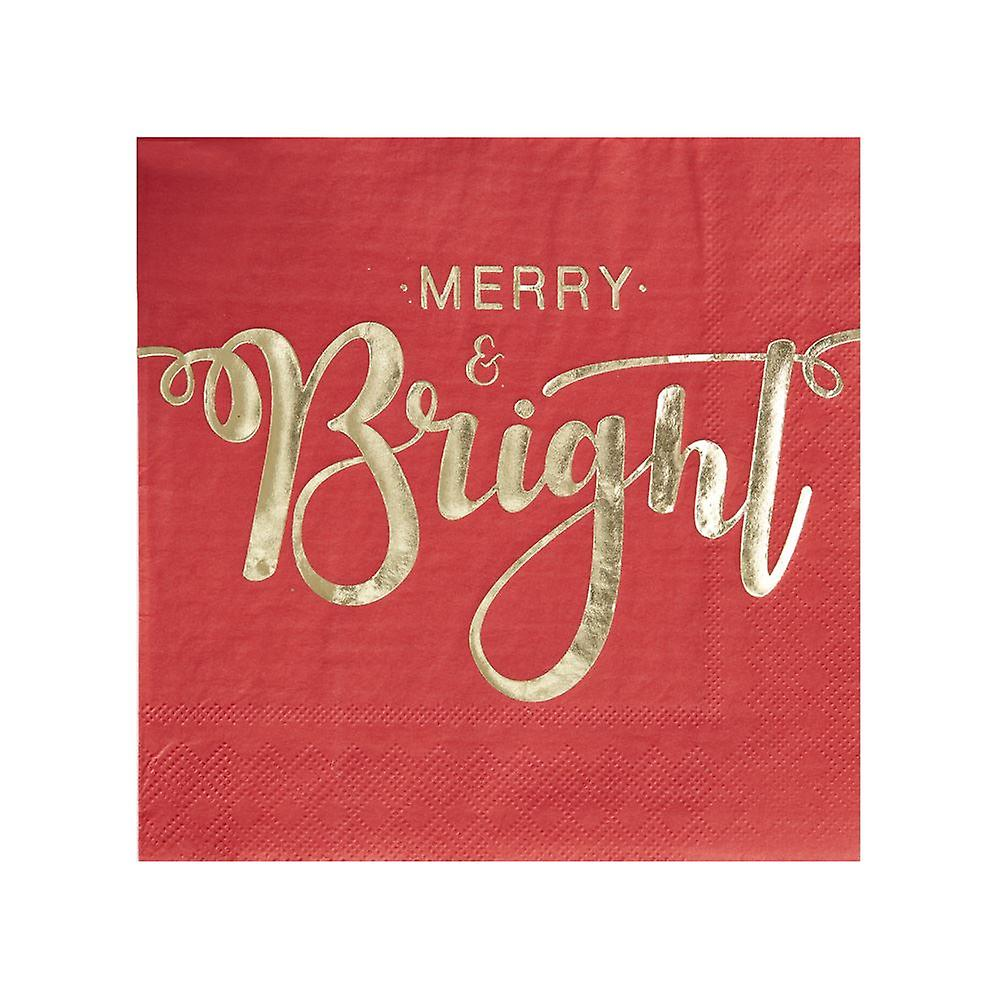 Gold Foiled Merry And Bright Christmas Paper Napkins - Red and Gold Pack of 20 Napkins