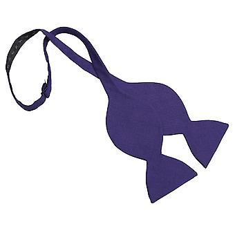 Purple Hopsack Linen Butterfly Self Tie Bow Tie