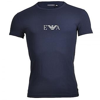 Emporio Armani farvede Stretch bomuld Logo Crew Neck T-Shirt, Marine, X-Large