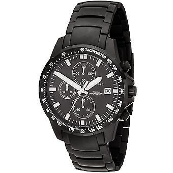 JOBO men's wristwatch quartz chronograph titanium black mens watch with date
