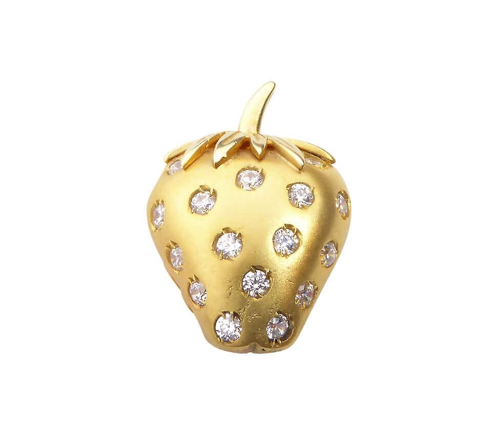 Golden Strawberry pendant with zirconia