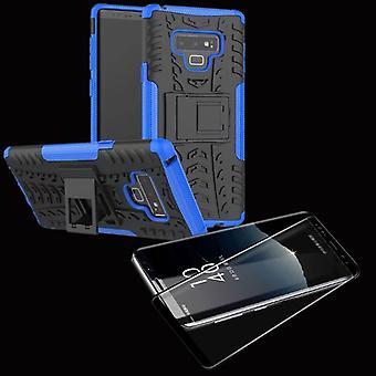Hybrid mellom bag 2 stykke Koczian blå for Samsung Galaxy trykk 9 N960 + 4 d vanskelig glass svart