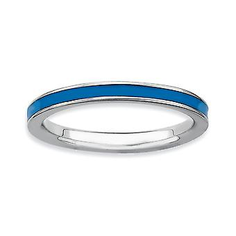 925 Sterling Silver Polished Rhodium plated Stackable Expressions Blue Enameled 2.25mm Ring Jewelry Gifts for Women - Ri