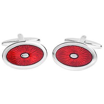 David Van Hagen Shiny Oval Enamel Sunburst Design Cufflinks - Red/Silver
