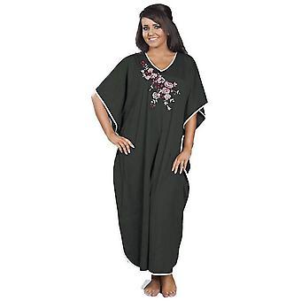 Ladies Embroidered Satin Trim Long Kaftan Sleepwear FREE SIZE FITS MOST 9985 12-24 Grey