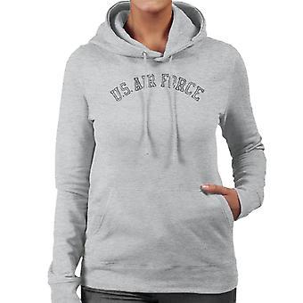 US Airforce Training Black Text Distressed Women's Hooded Sweatshirt