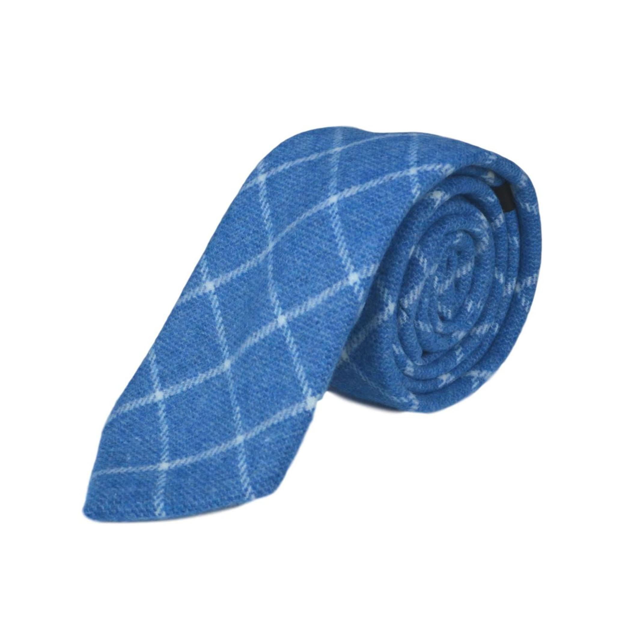 Azure Blue Birdseye Check Tie & Pocket Square Set