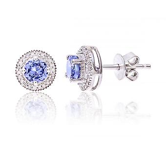 Star Wedding Rings Sterling Silver Earring Set With Tanzanite Gem Stone And Diamonds