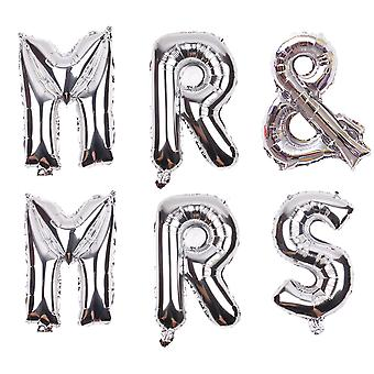 "TRIXES Mr and Mrs 16"" Metallic Silver Balloon Pack Wedding Decoration"