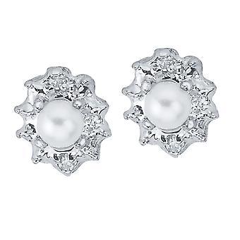 LXR 10k Weißgold Freshwater Cultured Perle und Diamant Ohrringe 0.25 ct