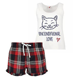 Bezpodmienečná láska mačka dámy tartan frill krátke pyžamo set červená modrá alebo zelená modrá