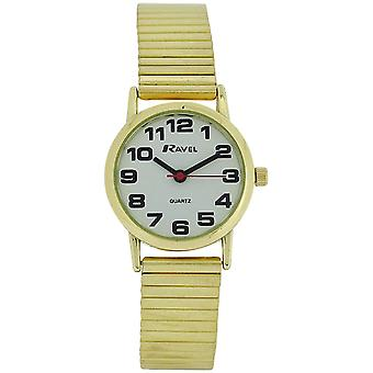 Ravel Ladies Goldtone Stainless Steel Soft Expanding Bracelet Strap Watch R0208.01.2