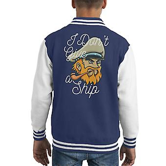 Captain Dont Give A Ship Kid's Varsity Jacket