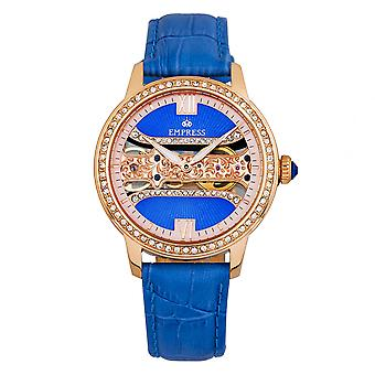 Empress Rania Mechanical Semi-Skeleton Leather-Band Watch - Blue