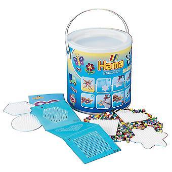 Hama 10.7701 20,000 Beads & Pegboards in bucket Mosaic Bead